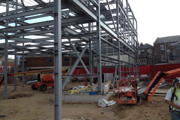 The Curve, Slough steel frame structure before ComFlor® CF E60 decking added by Composite Profiles