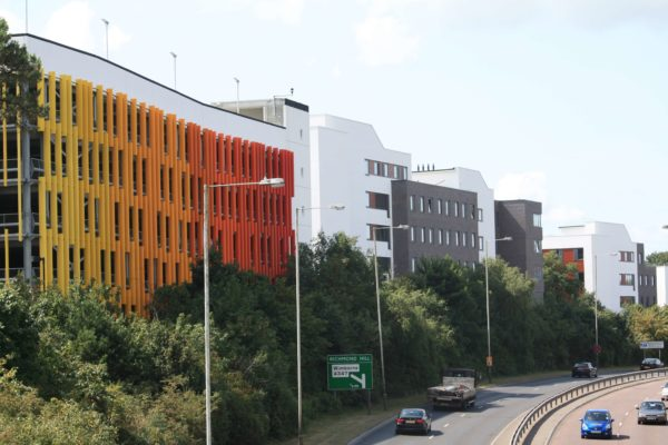 Multi-Storey Car Park & Student Accommodation Blocks for The Arts University, Madeira Road, Bournemouth by Composite Profiles - specialist metal decking contractors.