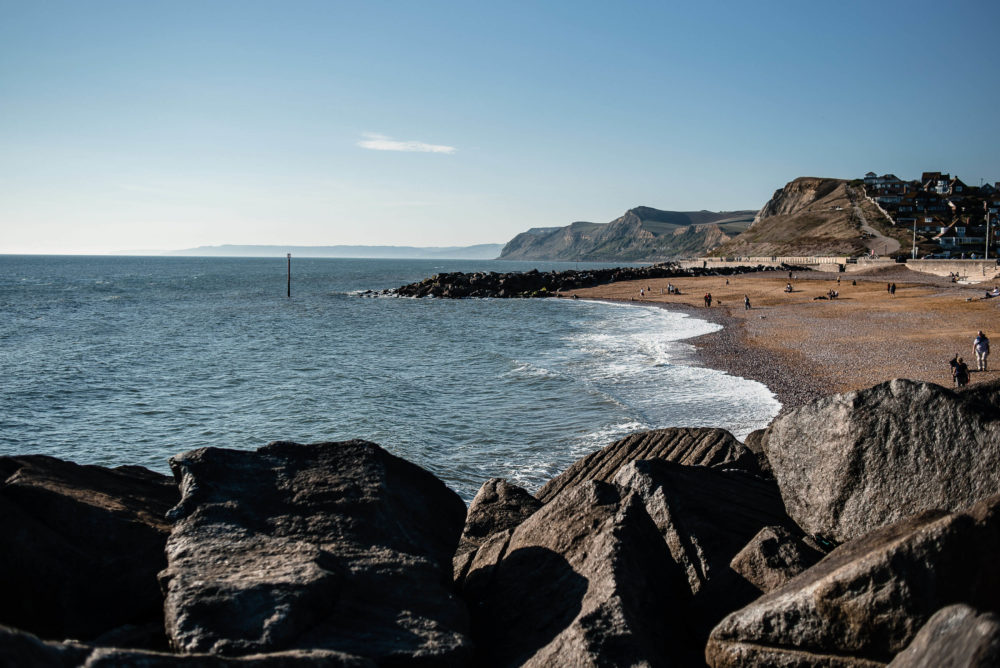 View of West Bay beach in Dorset during Composite Profiles Blue Sky Meeting