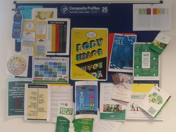 Mental Health wellbeing noticeboard in Composite Profiles office