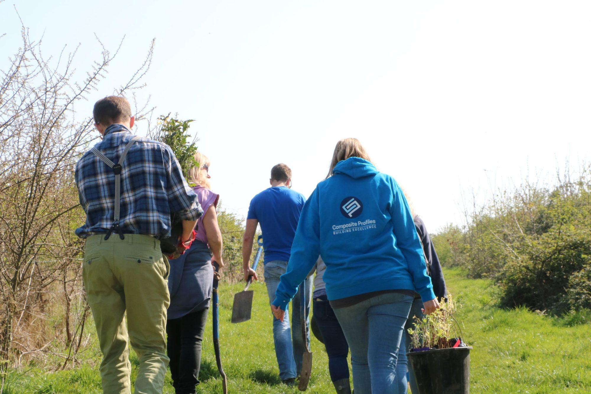 Composite Profiles team volunteering at Dorset Wildlife Trust supporting Mental Health Wellbeing