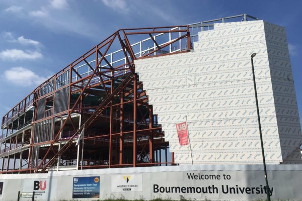 Installation of CF51+ decking by Composite Profiles on the Poole Gateway Fusion Building at Bournemouth University